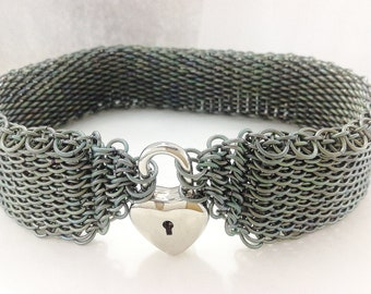 Chainmaille collar choker necklace green titanium dragonscale