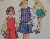 Vintage 1969 Simplicity 8311 UNCUT Pattern for Child's / Girls' Jumper, Skirt, and Blouse in Size 6