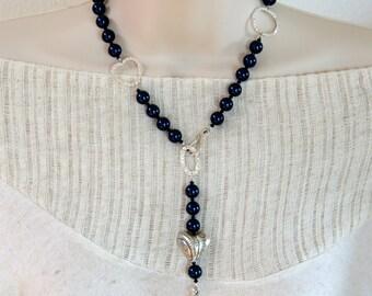 Indigo Swarovski Pearl/Sterling Silver Necklace