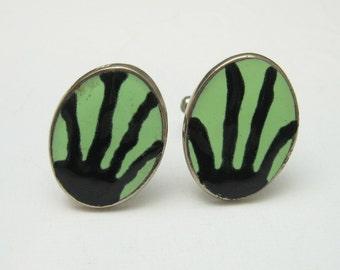 Vintage Cufflinks Tie Bar Set Abstract Alien Mens Jewelry H360