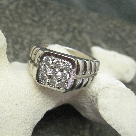 Sterling Rhinestone Ring Size 12 H181