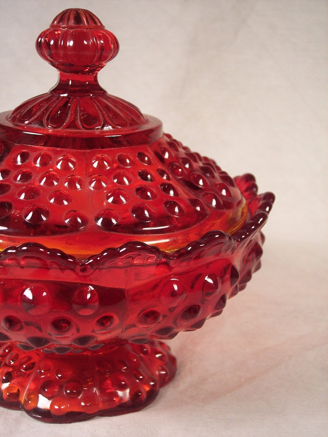 Beautiful Fenton Red Amberina Hobnail Candy Dish With Lid