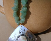 Emerald Green Aventurine Chip with Gold Inlay Abalone Pendant Statement Necklace