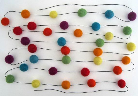 Rainbow Felt Ball Garland - 35 felt balls, 3 metres