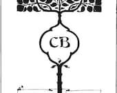 Bookplate rubber stamp, Art Nouveau, tree, nature
