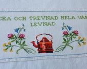 SALE Vintage Swedish cross stitch wall hanging / Vintage Swedish wall art / Vintage Scandinavian wall hanging