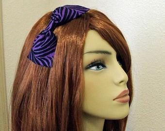 Purple Zebra Animal Print Hair Bow- Headband OR Barrette Clip