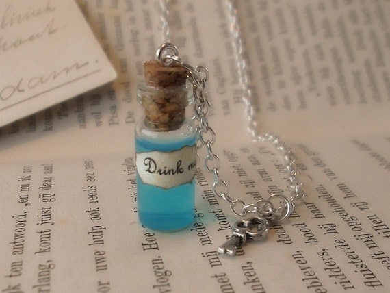 Alice in Wonderland - drink me - glass vial necklace - silver plated - with key charm