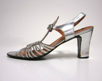1950s Silver Strappy Sandals With Mid-Height Heel - Ankle Strap and Buckle (Possibly 1940s)