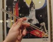 "10"" long glass gandalf pipe beautiful clear boro glass made in USA"