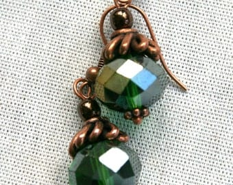 Copper and AB Green Rondell Crystal Dangle Earrings