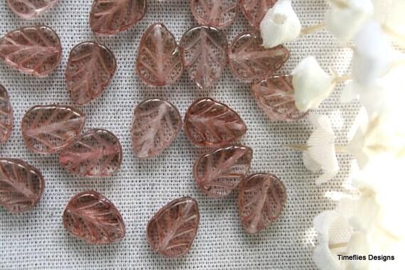 10 Topaz Pink Czech Glass Leaf Beads