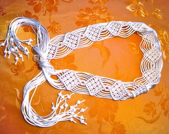 "Macrame Belt ""Caprice for the Bride"", white women's belt, woven of satin cord - MADE TO ORDER"