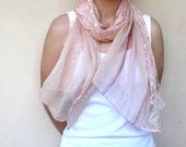 Scarf 100 % Silk & Lace Powder Color