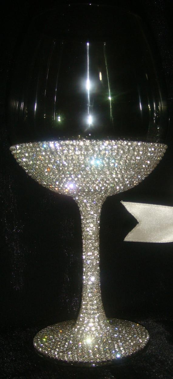 Custom designed handmade wine glass, goblet with Czech rhinestones