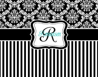 Shower Curtains black and blue shower curtains : Damask and Stripe Shower curtain Black and White