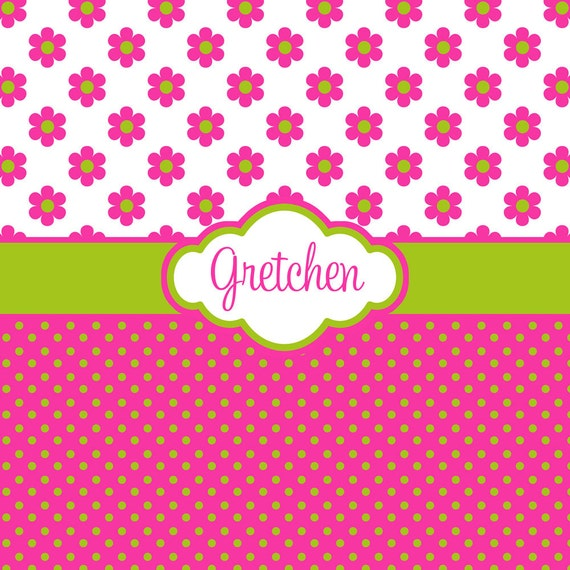 items similar to hot pink flower and polka dot with lime green