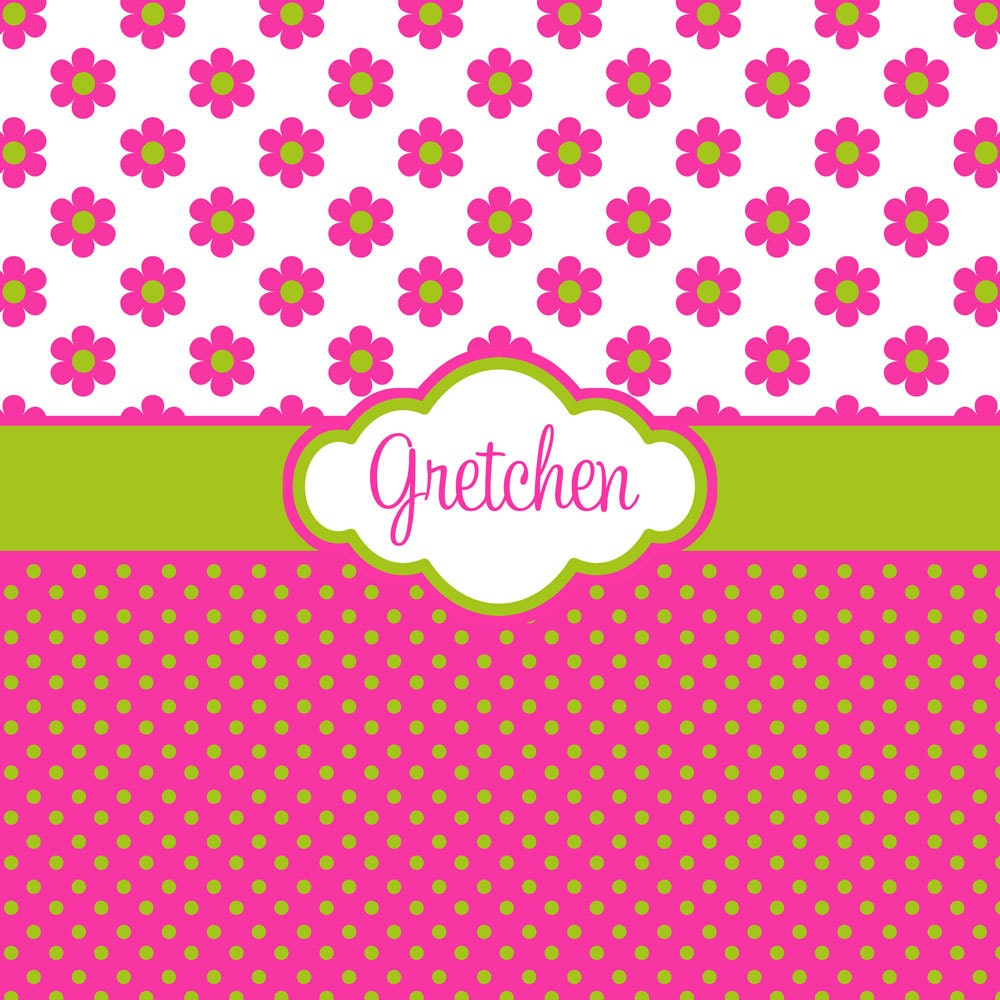 Pink Green And Purple Flowers During Daytime Free Stock: Hot Pink Flower And Polka Dot With Lime Green Personalized