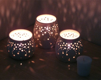 """Handmade Ceramic Luminaries, """"Falling Stars."""" Set of Three Candle Holders for Home, Holiday, Table Decor. Matte Cream Pottery. Made to Order"""