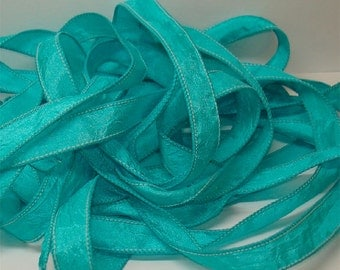 "Powder Blue Crinkle Essence 1/2"" X 42"" ribbon//Wrist wrap bracelet ribbon//Yoga style wrist wrap bracelet ribbons//by Color Kissed Silk LLC."