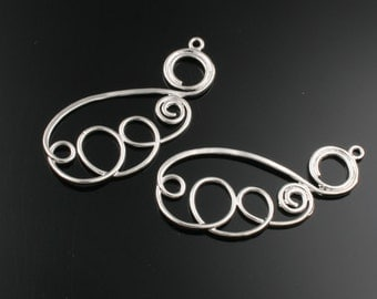 6pcs-42mmX17mm Rhodium plated over Brass  hammered wire pendants(K271S)