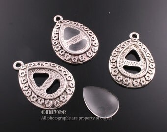 4PCS-32mmX22mmAntique Silver Plated Brass Pendant tray Settings of 18mmX13mm with Domed Glass Cabochons (E320S)