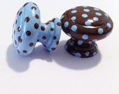 Dresser Knobs - Baby Blue and Brown polka dots