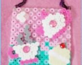 Lolita kawaii Tea Party Pixel 8 bit perler style necklace