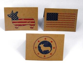 Americana Corgi Patriotic Dog Greeting Cards - Set of 3 Note Cards