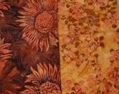 Batik- Unique Design, High quality Set of 2 Fat Quarters - Sunflowers