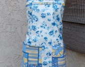 Full Apron White Blue & Yellow Floral Chintz