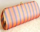 Orange and  Purple Strip Vintage Handmade Silk Clutch // Silk Woven Fabric Vintage Handmade Clutch Purse