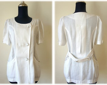 60's MOD Linen Blouse with Vintage White Buttons // Size M