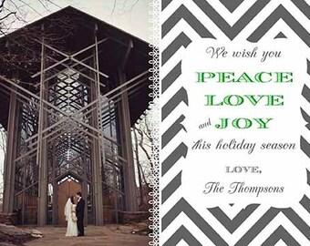 Gray Chevron and Green Peace Love and Joy Christmas Holiday Photo card - one photo