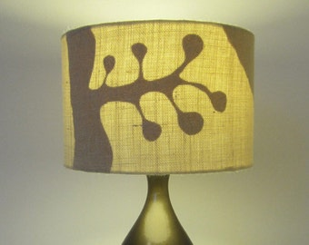 Hand Cut Paper Under Cream Hessian 30cm Diameter Lampshade -  Suits Ceiling Pendat or Lamp Shade - Suited to UK / European Light Fittings.