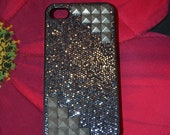 Silver Studded Black Glittered Iphone Case