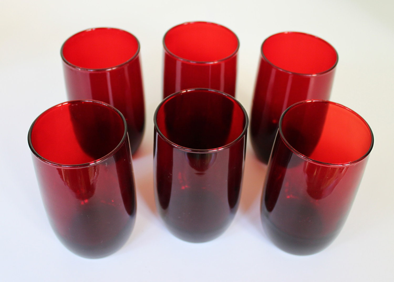 Vintage Ruby Red Drinking Glasses Set Of 6