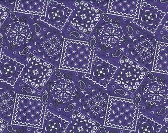 Purple bandana fabric BTY