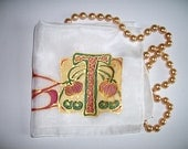 "Silk Original batik handpainting handkerchief Art Nouveau  monogram initial ""T"" .Ready to Ship"