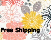 Asian-Inspired Floral on White Emperors Garden 1 yard FREE SHIPPING