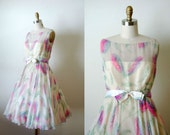 RESERVED for Christine Keating ---- vintage 1950s silk gown /  chiffon feathery formal / Watercolor Daydream dress