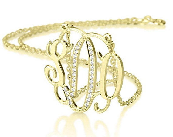 "Monogram necklace - 1.25"" inch Personalized Monogram - 925 Sterling silver plated with 18k Gold  with Swarovski Stones"