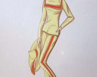 1957 Vogue Fashion Illustration--Chic Yellow Suit