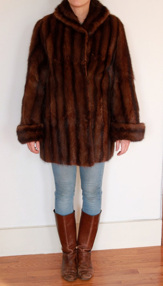 Vintage Mink Fur Coat Rich Brown with darker brown