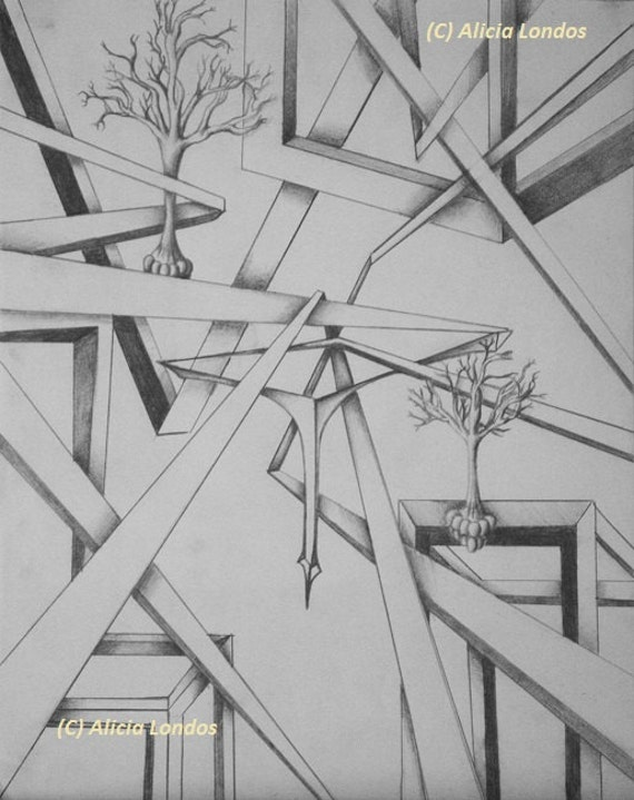 Drawing - trees floating in geometric shapes