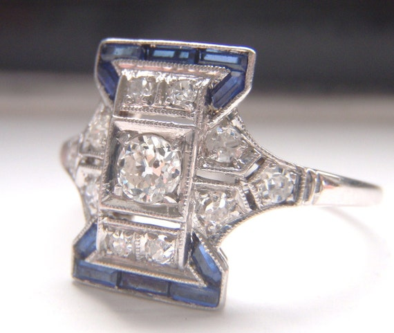 RESERVED for AMY. Decadent Vintage Art Deco Engagement or Dress Ring. Baguette Sapphires, Diamonds, 18k White Gold.