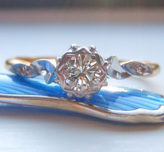Deposit For JACOB. Vintage Diamond Engagement Ring. Quality 18K Gold & Palladium. Lovely Organic Flowing Design. Very Sweet.
