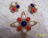 Vintage Sarah Coventry Americana Red, White, and Blue Brooch and Earrings-Patriotic-Gold Tone Metal and Lucite Stones-Fabulous-1970's