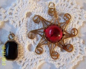 Lot of 2 Vintage Pendants-Gold Tone Star Shape with a Red Glass Cabochan and a Black Stone Pendant