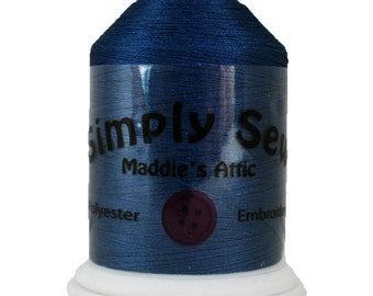 100% Polyester Embroidery Thread - 1100 Yards Spool - Navy Blue